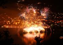 Firework at lake zell